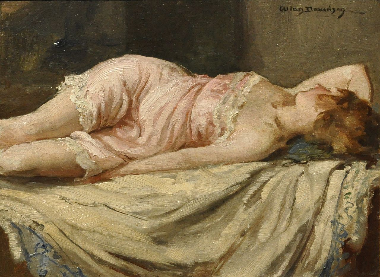 Davidson A.D.  | Allan Douglas Davidson, A girl asleep, oil on painter's board 22.7 x 30.2 cm, signed u.r.