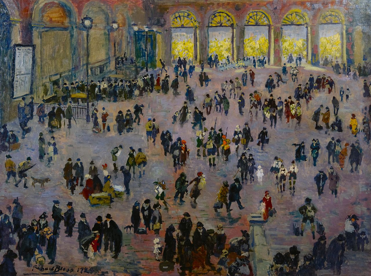 Bloos R.W.  | 'Richard' Willi Bloos | Paintings offered for sale | Rush hour in the 'Südbahnhof', Vienna, oil on canvas 90.3 x 118.2 cm, signed l.l. and dated 1929
