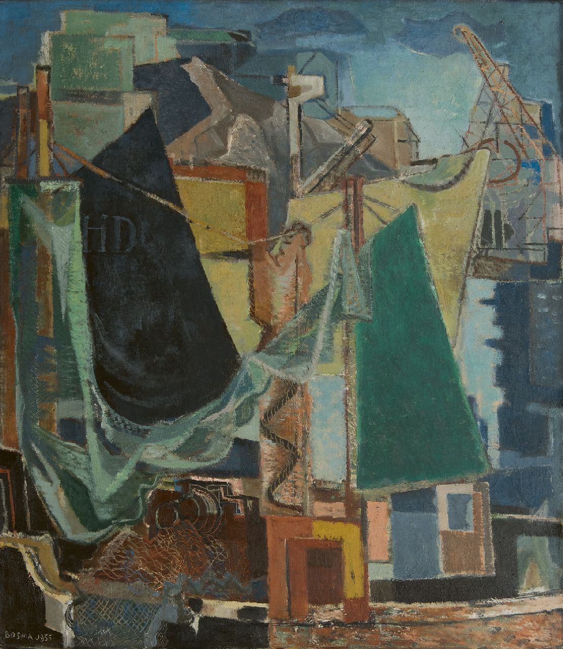 Bosma W.  | Willem 'Wim' Bosma, A harbour, oil on canvas 109.8 x 95.2 cm, signed l.l. and dated 1955