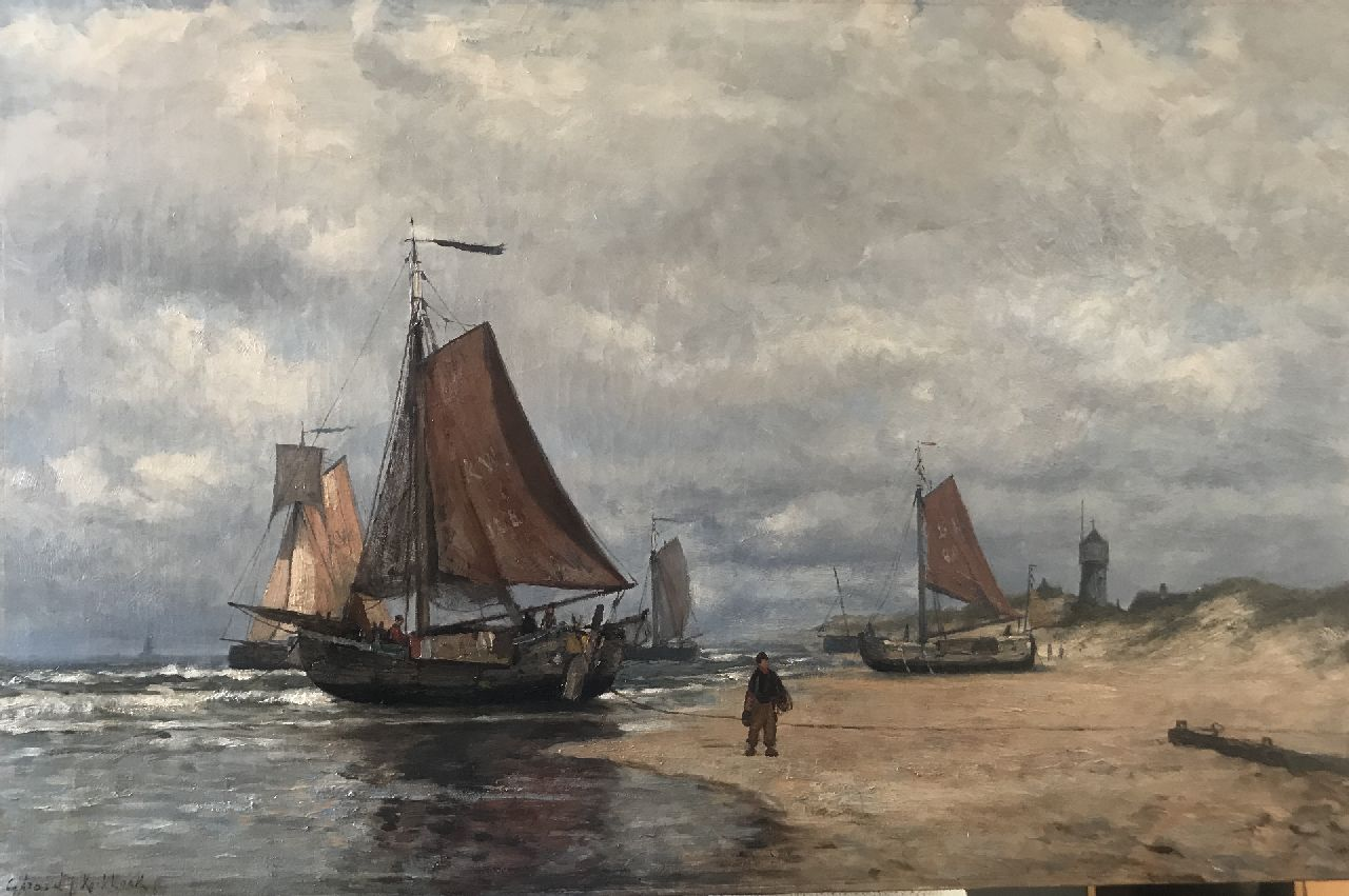 Koekkoek G.J.  | Gerardus Johannes 'Gerard' Koekkoek | Paintings offered for sale | Fishing vessels the beach of Katwijk, oil on canvas 52.5 x 79.5 cm, signed l.l.