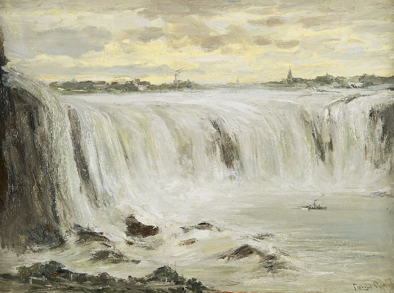 Apol L.F.H.  | Lodewijk Franciscus Hendrik 'Louis' Apol, the Niagara falls, oil on canvas 30.3 x 40.5 cm, signed l.r.