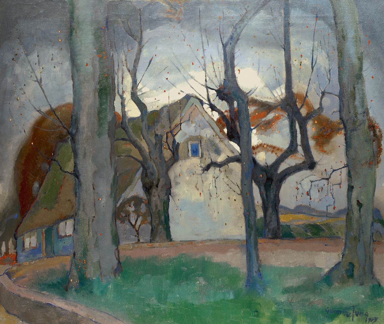 Jong G. de | Gerben 'Germ' de Jong | Paintings offered for sale | A farmhouse in winter, oil on canvas 85.8 x 100.7 cm, signed l.r. and painted in 1919