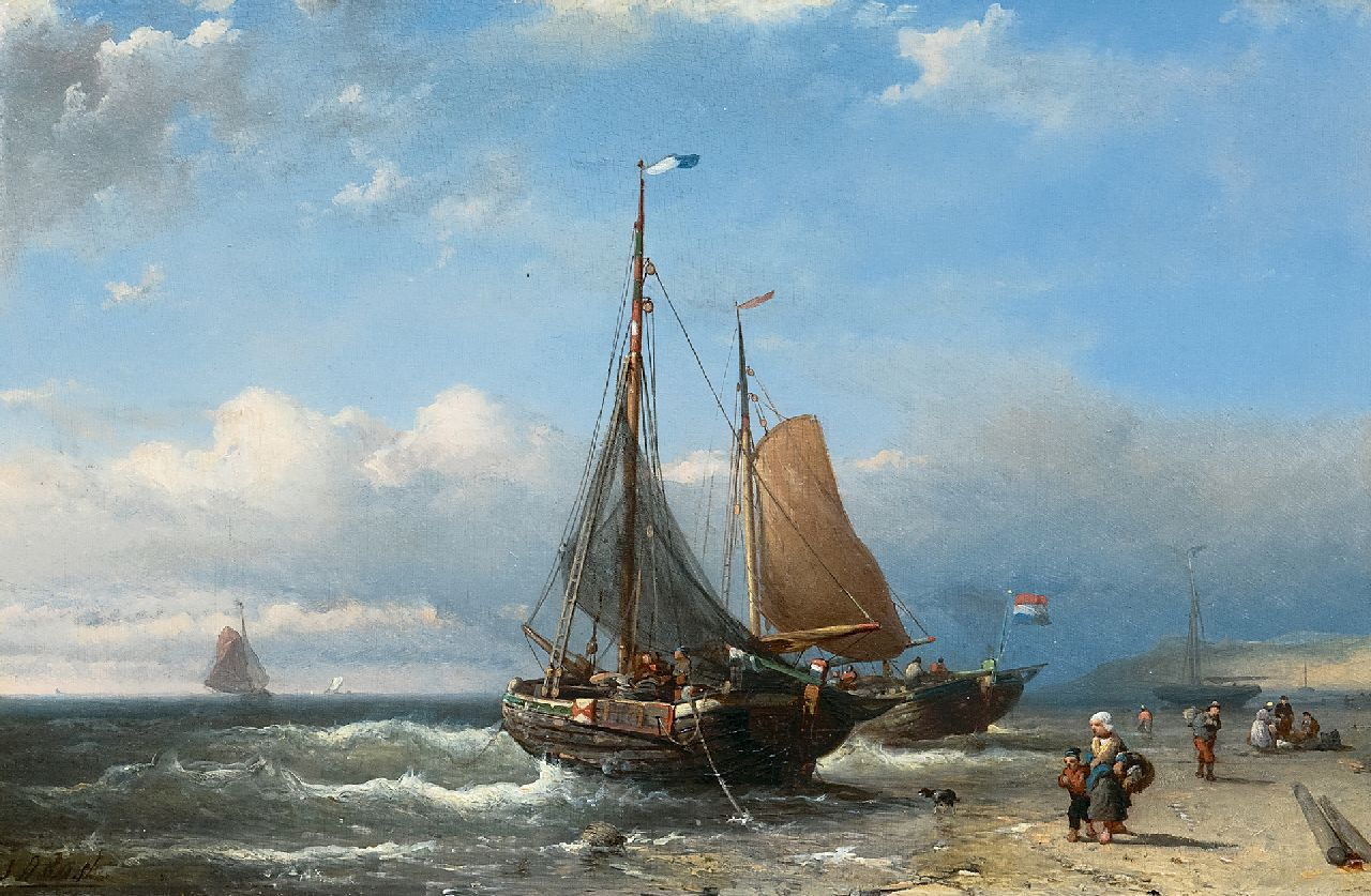 Johan Rust | Fishing boats at anchor at the beach, oil on panel, 24.3 x 36.6 cm, signed l.l.