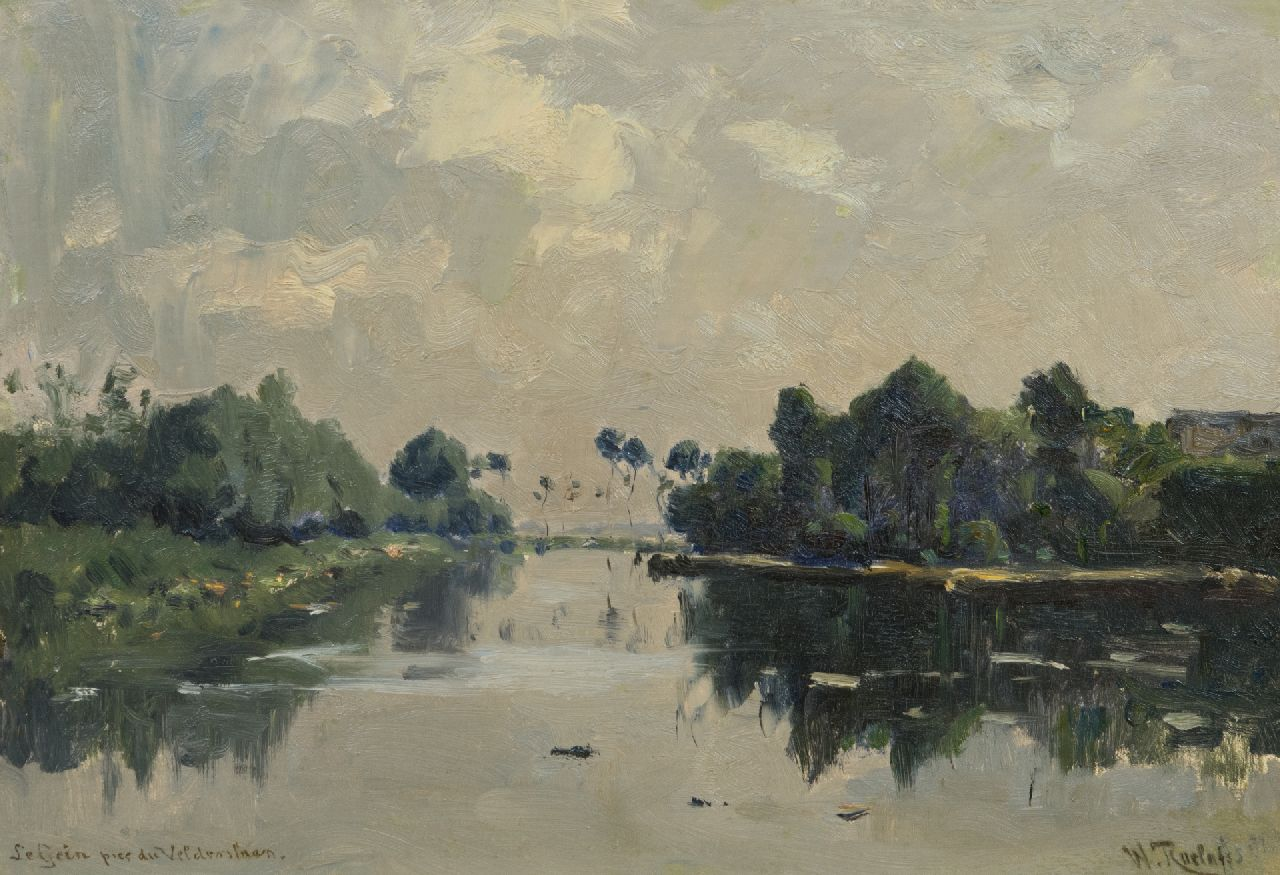 Roelofs W.  | Willem Roelofs | Paintings offered for sale | The river Gein near the Velderslaan, Abcoude, oil on canvas laid down on panel 30.3 x 44.0 cm, signed l.r. and dated 'Juillet' 1881 on the reverse