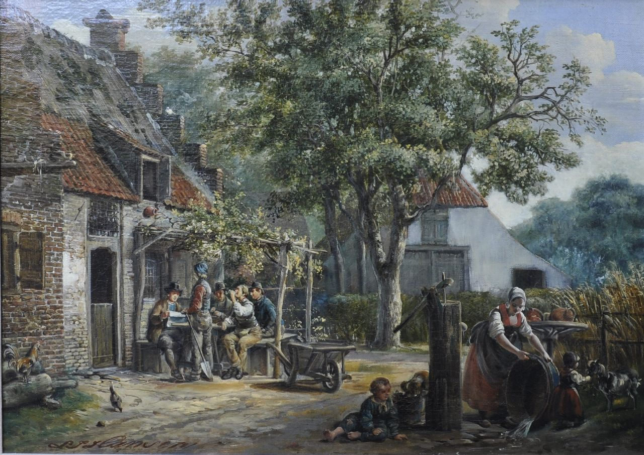 Lambertus Johannes Hansen | A village with drinkers at a tavern, oil on canvas, 41.1 x 56.1 cm, signed l.l.