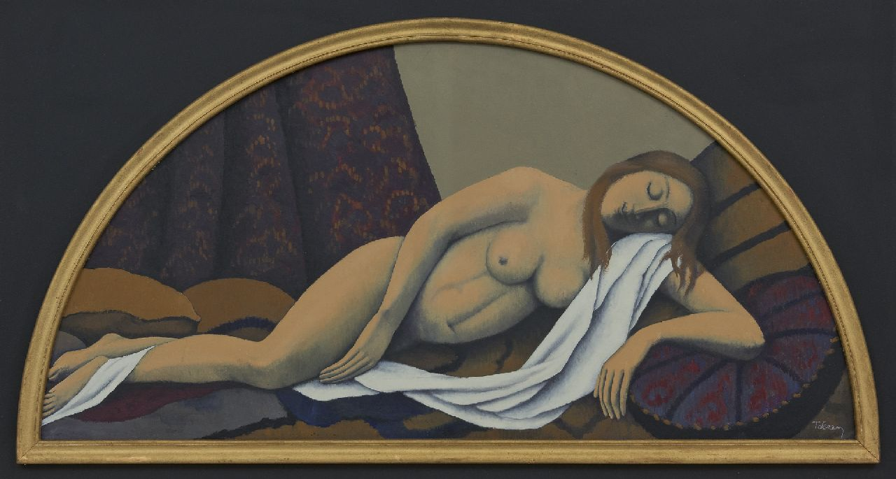 Tobeen F.  | Félix Tobeen | Paintings offered for sale | Sleeping nude, oil on board 41.8 x 84.5 cm, signed l.r. and painted after 1920