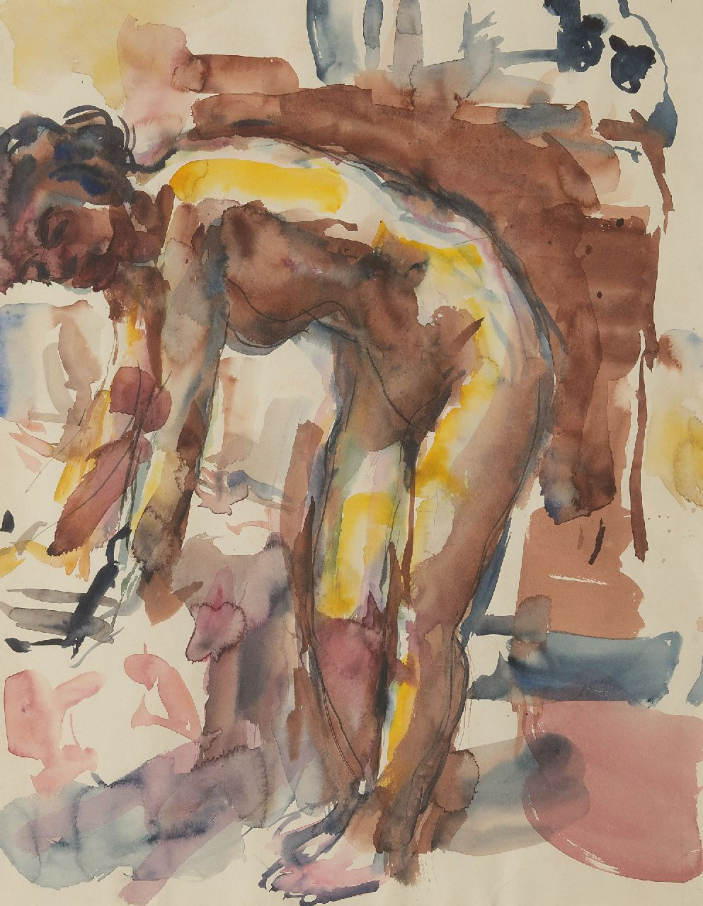 Dijkstra J.  | Johannes 'Johan' Dijkstra | Watercolours and drawings offered for sale | Model in the artist's studio, watercolour on paper 55.5 x 44.0 cm