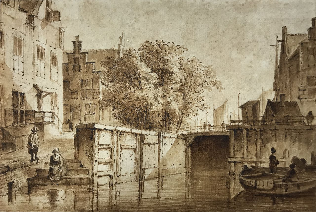 Westenberg G.P.  | George Pieter Westenberg | Watercolours and drawings offered for sale | The Oude Haarlemmersluis, direction Martelaarsgracht, Amsterdam, pen, brush and ink on paper 11.8 x 17.4 cm, signed on the reverse and dated 1822