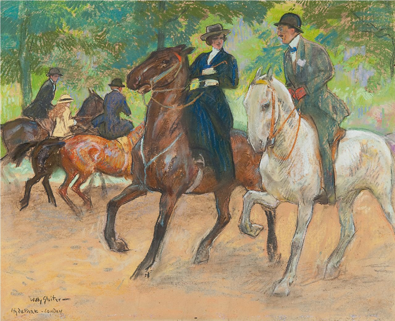 Sluiter J.W.  | Jan Willem 'Willy' Sluiter | Watercolours and drawings offered for sale | Horse riding in Hyde Park, London, pastel on paper 38.0 x 49.0 cm, signed l.l. and on the reverse