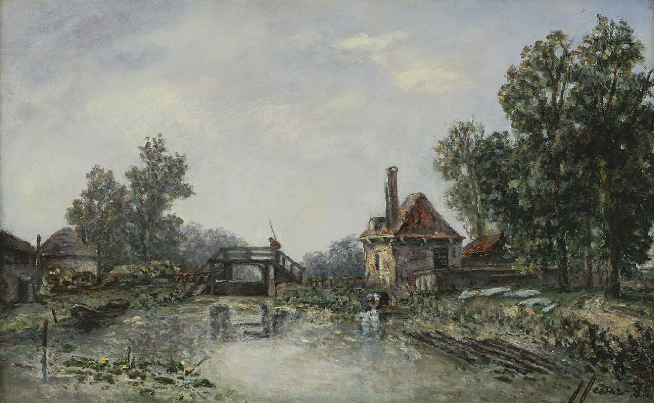 Joséphine Fesser-Borrhée | Washerwoman nearby a lock, oil on canvas, 26.2 x 42.2 cm, signed l.r. and painted '88
