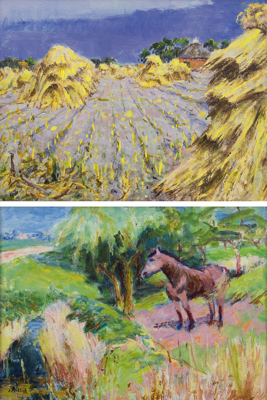 Altink J.  | Jan Altink | Paintings offered for sale | Flax field; on the reverse: A horse in a field, wax paint on canvas 58.0 x 78.5 cm, signed l.l. on the reverse and painted ca. 1930