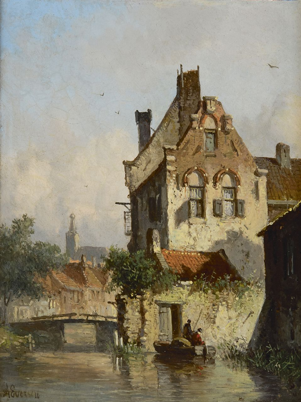 Eversen A.  | Adrianus Eversen, Anglers in a canal, in summer, oil on panel 19.0 x 14.9 cm, signed l.l.