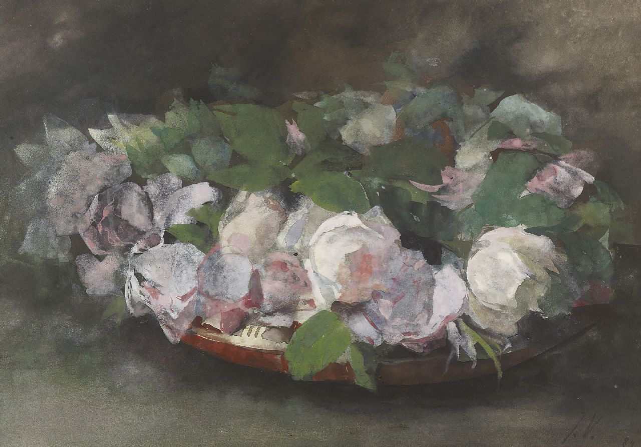 Voerman sr. J.  | Jan Voerman sr. | Watercolours and drawings offered for sale | Pink 'La France'-roses in a bowl, watercolour on paper 30.0 x 44.0 cm, signed l.r. with initials and dated '89
