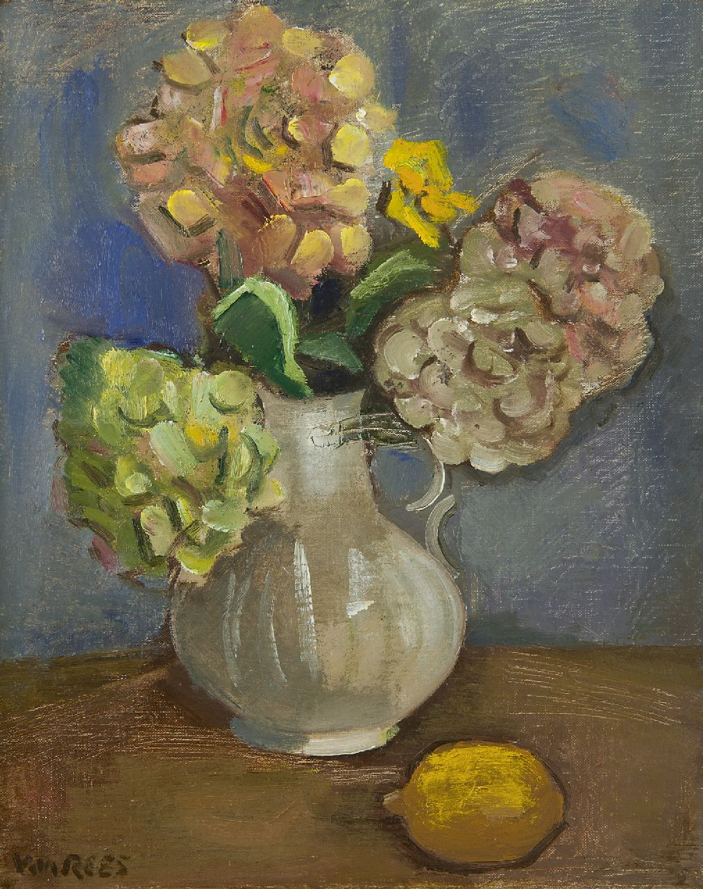 Rees O. van | Otto van Rees | Paintings offered for sale | Still life with hydrangea and a lemon, oil on canvas 50.5 x 40.5 cm, signed l.l.