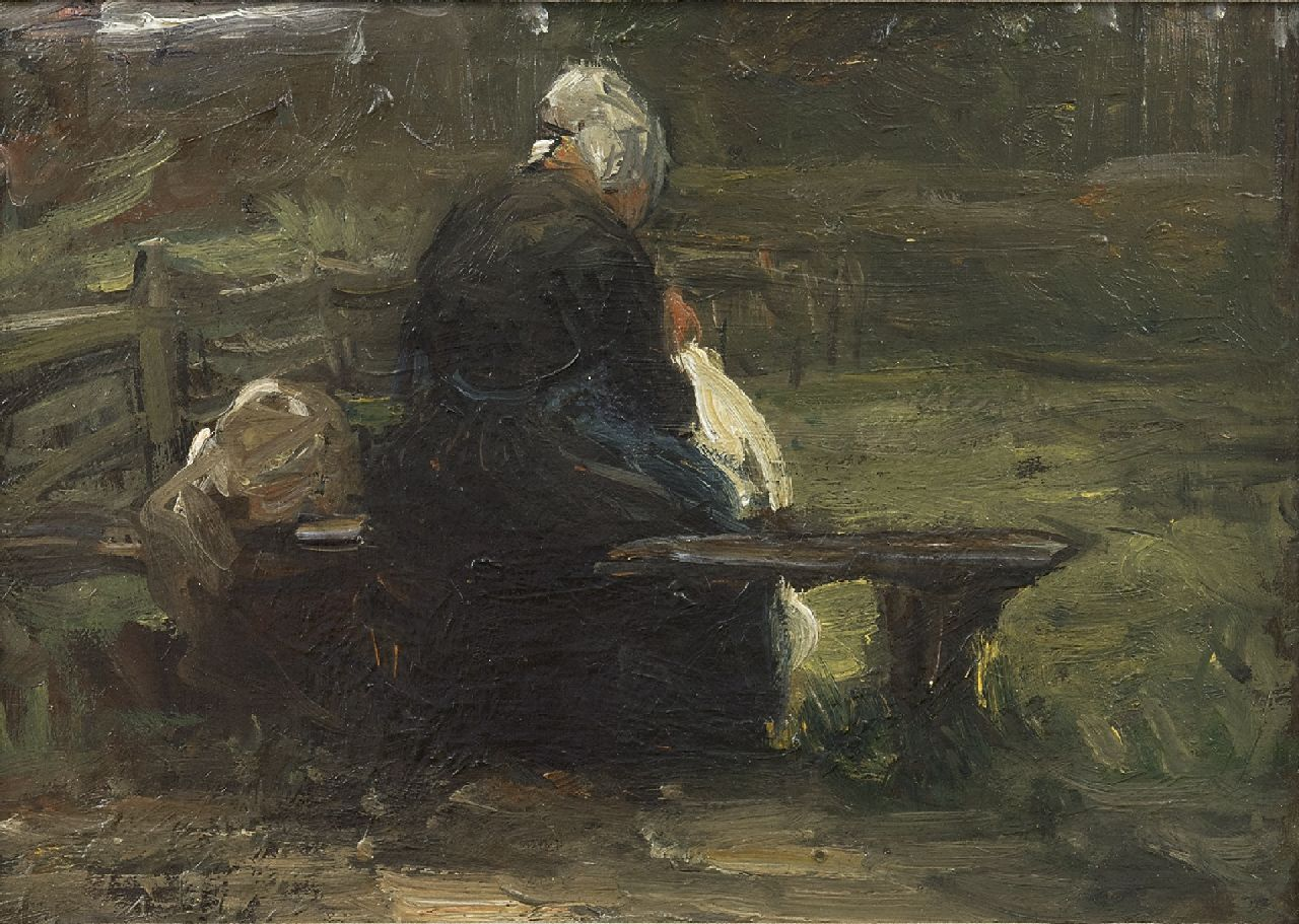 Blommers B.J.  | Bernardus Johannes Blommers | Paintings offered for sale | A fisherman's wife on a bench, oil on canvas 25.0 x 35.1 cm, gesigneerd met verso atelierstempel