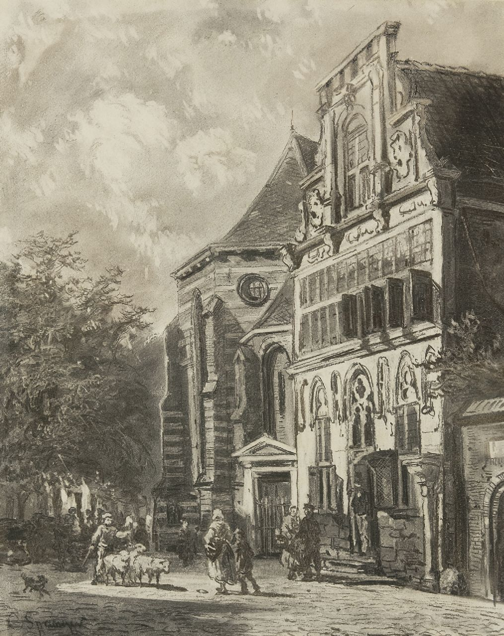 Springer C.  | Cornelis Springer, Stedehuys Woerden (museum now), charcoal on paper 48.5 x 39.5 cm, signed l.l. and painted ca. 1858