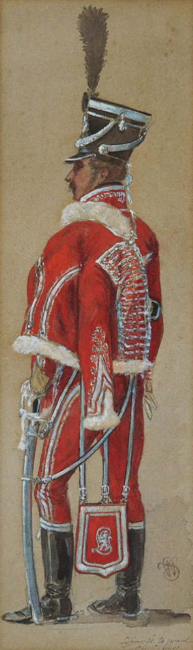 Willem Constantijn Staring | Standing Hussar, watercolour and gouache on paper, 44.0 x 13.0 cm, signed l.r. with monogram