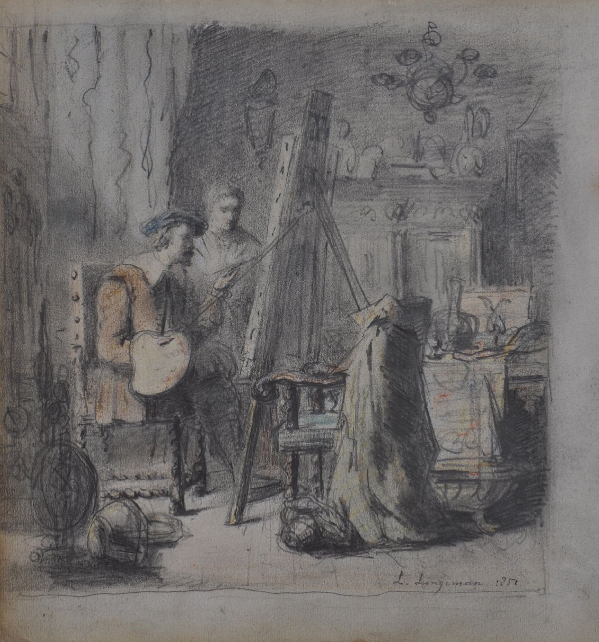 Lingeman L.  | Lambertus Lingeman | Watercolours and drawings offered for sale | Artist in his studio (probably Rembrandt), pencil and chalk on paper 22.4 x 20.8 cm, signed l.r. and dated 1852