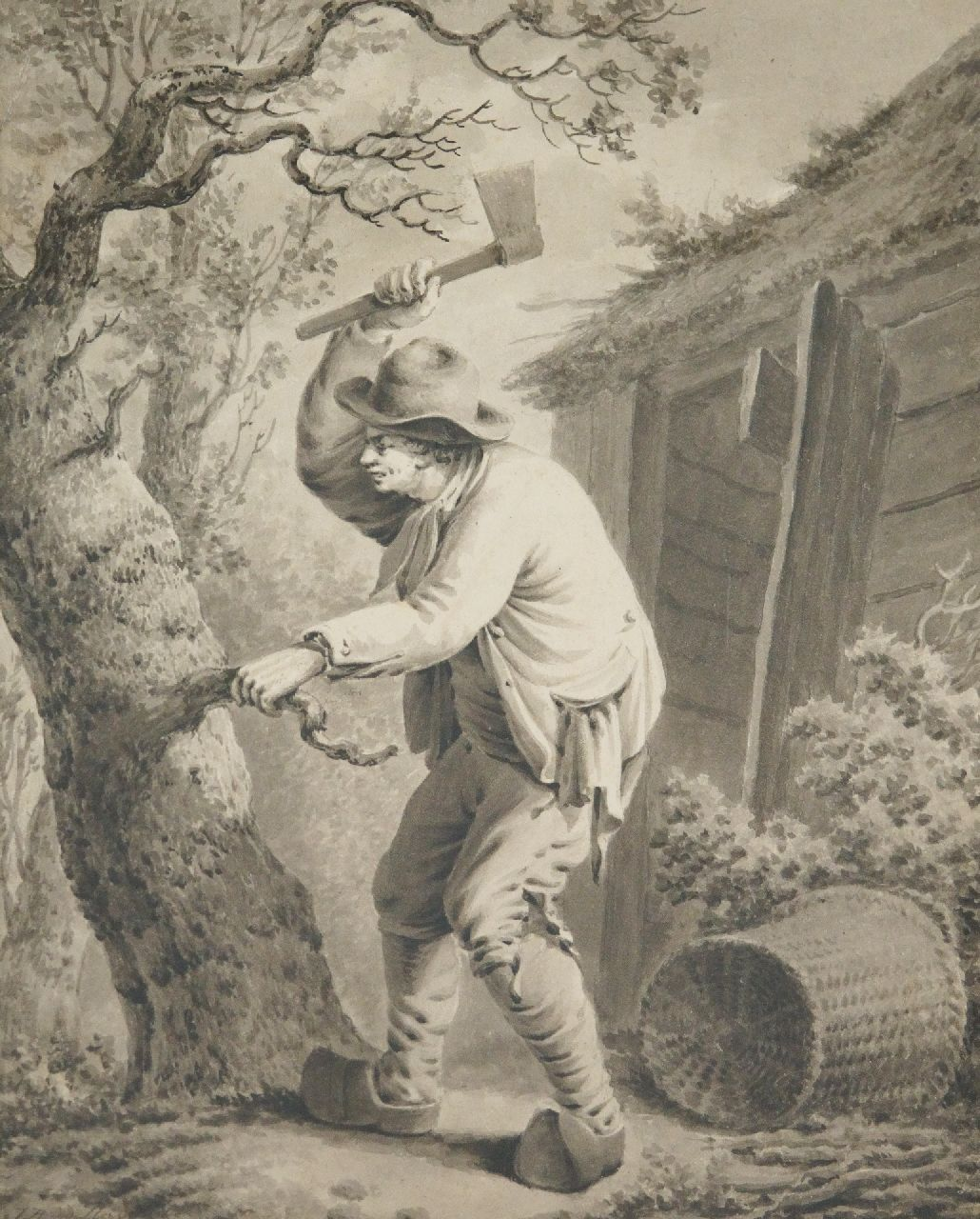 Jacques van der Heyden | Lumberjack, drawing on paper, 29.0 x 23.0 cm