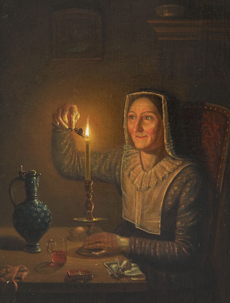 Thans W.  | Willem Thans | Paintings offered for sale | Woman with a candle, oil on panel 29.7 x 22.4 cm, signed l.c. on the table edge and dated 1850
