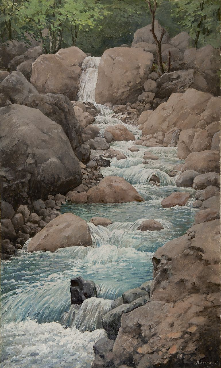 Voerman jr. J.  | Jan Voerman jr. | Paintings offered for sale | Mountain stream in the Melchtal, Switzerland, oil on canvas 100.4 x 60.5 cm, signed l.r. and painted 1921