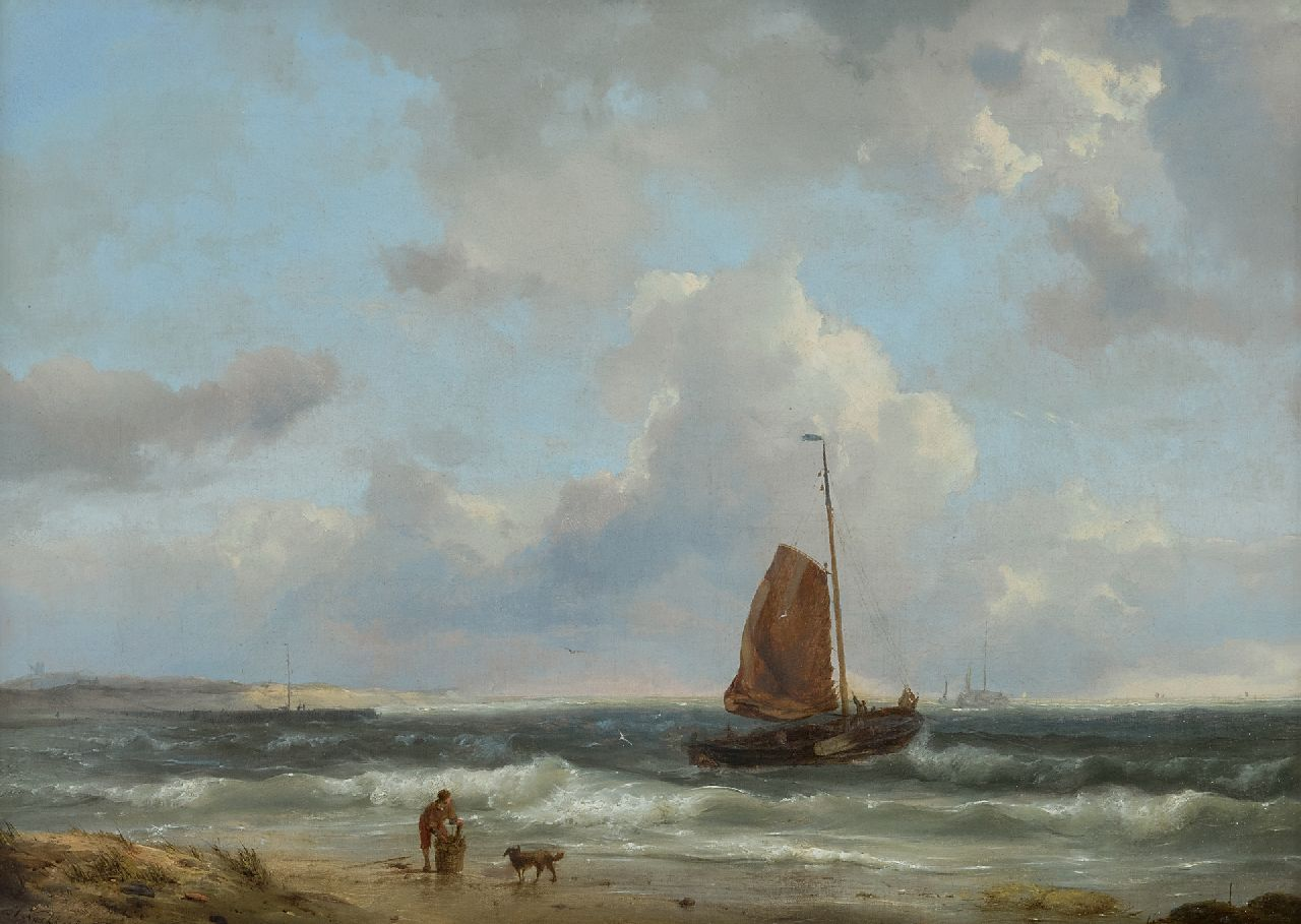 Koekkoek H.  | Hermanus Koekkoek | Paintings offered for sale | A fishing boat setting sail, oil on canvas 34.7 x 48.3 cm, signed l.l. and dated 1849