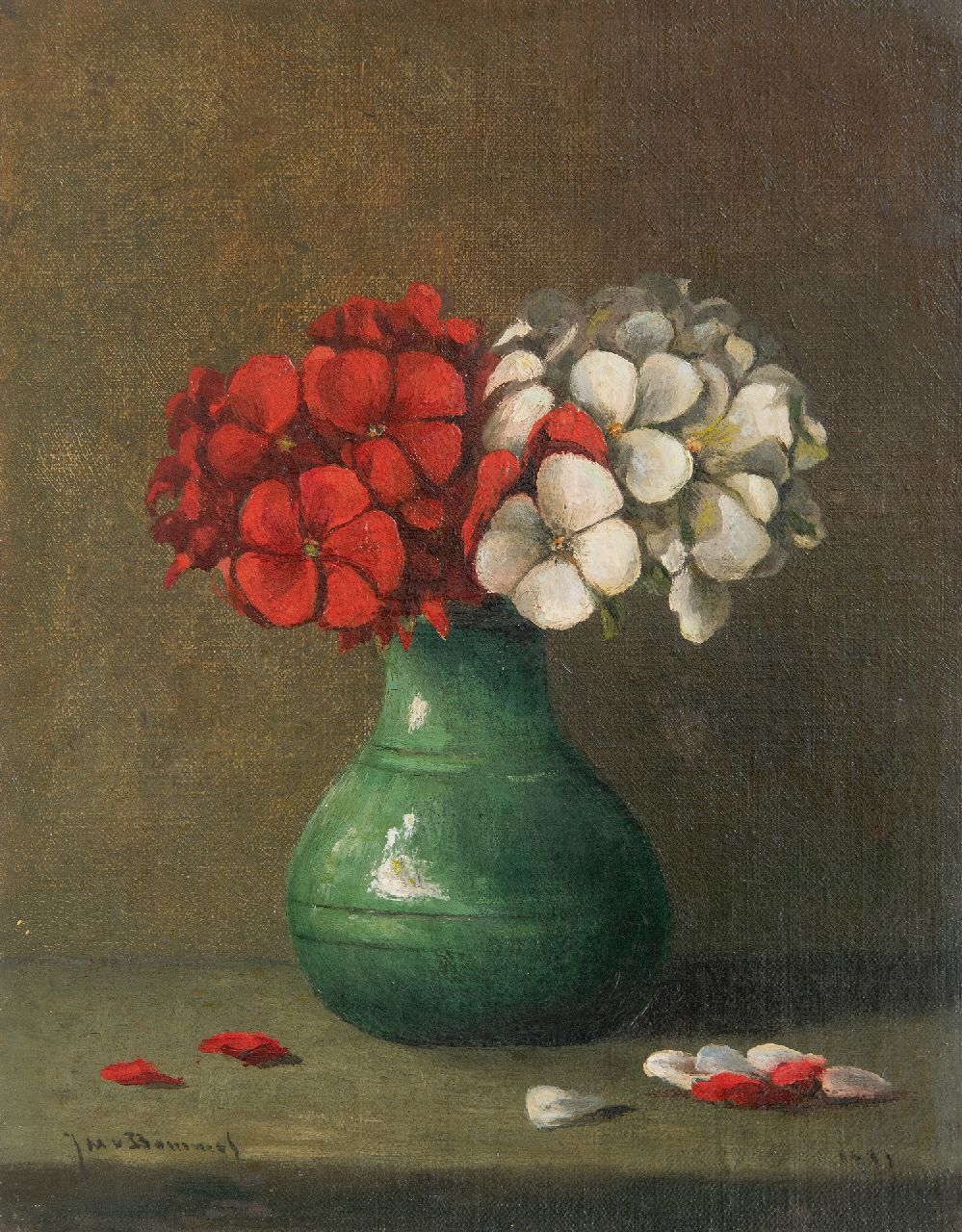 Jacobus Marinus van Bommel | Red and white geranium flowers in a vase, oil on canvas laid down on panel, 23.0 x 18.1 cm, signed l.l. and dated 1917