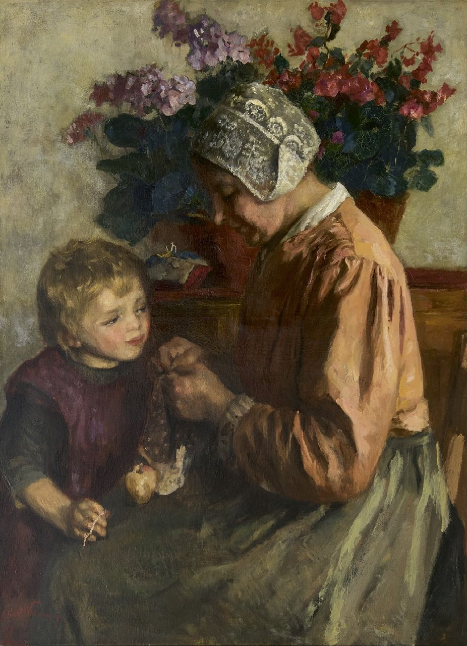 Albert Neuhuys | Mother's work, oil on canvas, 100.3 x 74.7 cm, signed l.l.