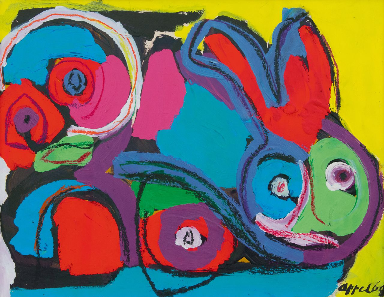 Appel C.K.  | Christiaan 'Karel' Appel | Watercolours and other works on paper offered for sale | Rabbit, chalk and acrylic on paper 50.1 x 64.9 cm, signed l.r. and dated '69