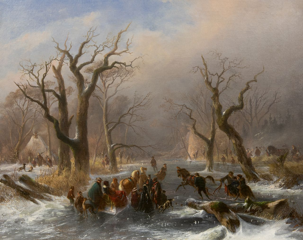 Johannes Tavenraat | Skaters and a horse sleigh on a frozen forest stream near Kleve, oil on canvas, 76.1 x 94.2 cm, signed l.l. and dated 1857
