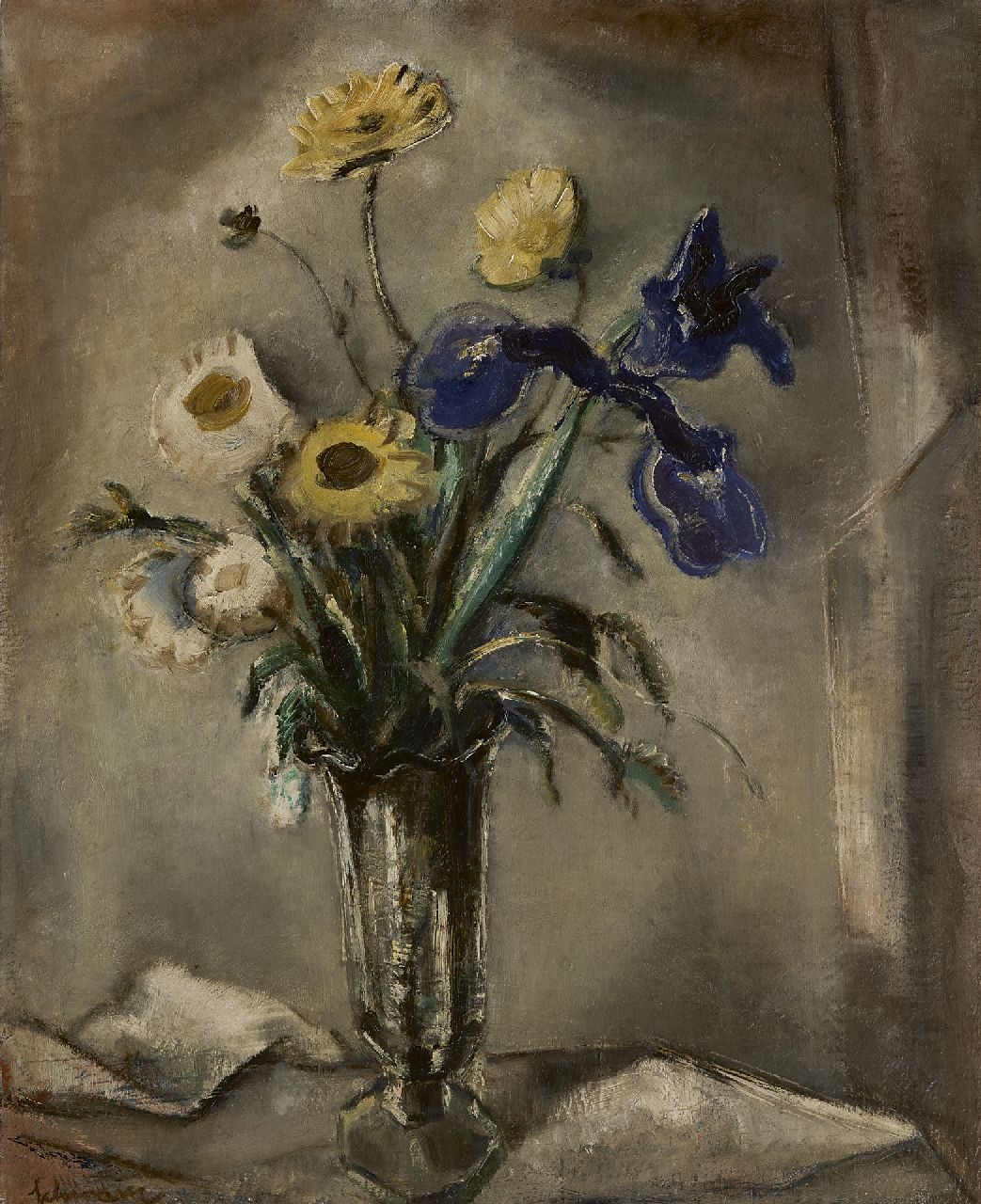 Schwarz S.  | Samuel 'Mommie' Schwarz | Paintings offered for sale | A still life of garden flowers, oil on canvas 65.0 x 54.8 cm, signed l.l.