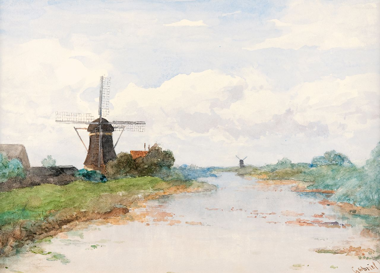 Gabriel P.J.C.  | Paul Joseph Constantin 'Constan(t)' Gabriel | Watercolours and drawings offered for sale | View on the Proosdijer windmill on the river Winkel, watercolour on paper 36.1 x 53.3 cm, signed l.r.