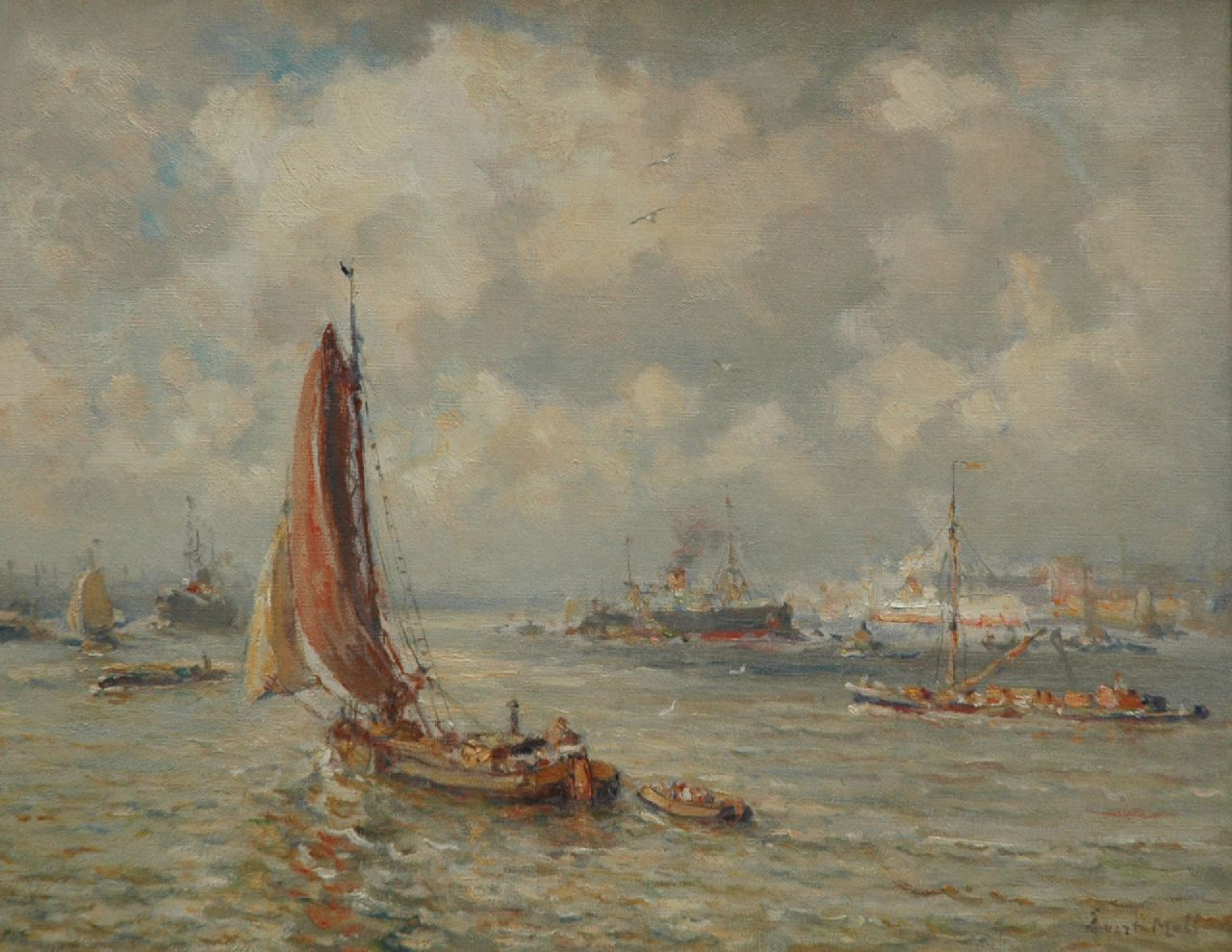 Moll E.  | Evert Moll | Paintings offered for sale | A harbour view of Rotterdam, oil on canvas 40.3 x 50.0 cm, signed l.r.