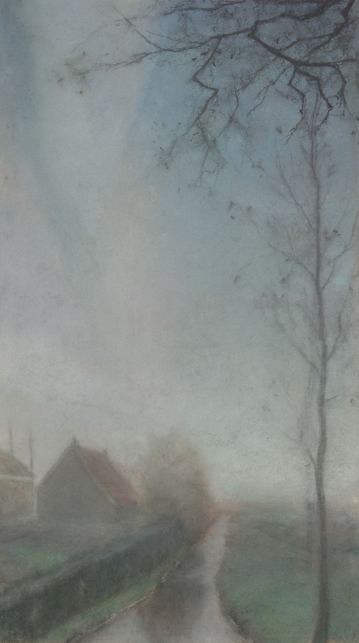Dirk Berend Nanninga | Autumn morning, pastel on cardboard, 76.5 x 45.0 cm, signed l.r.
