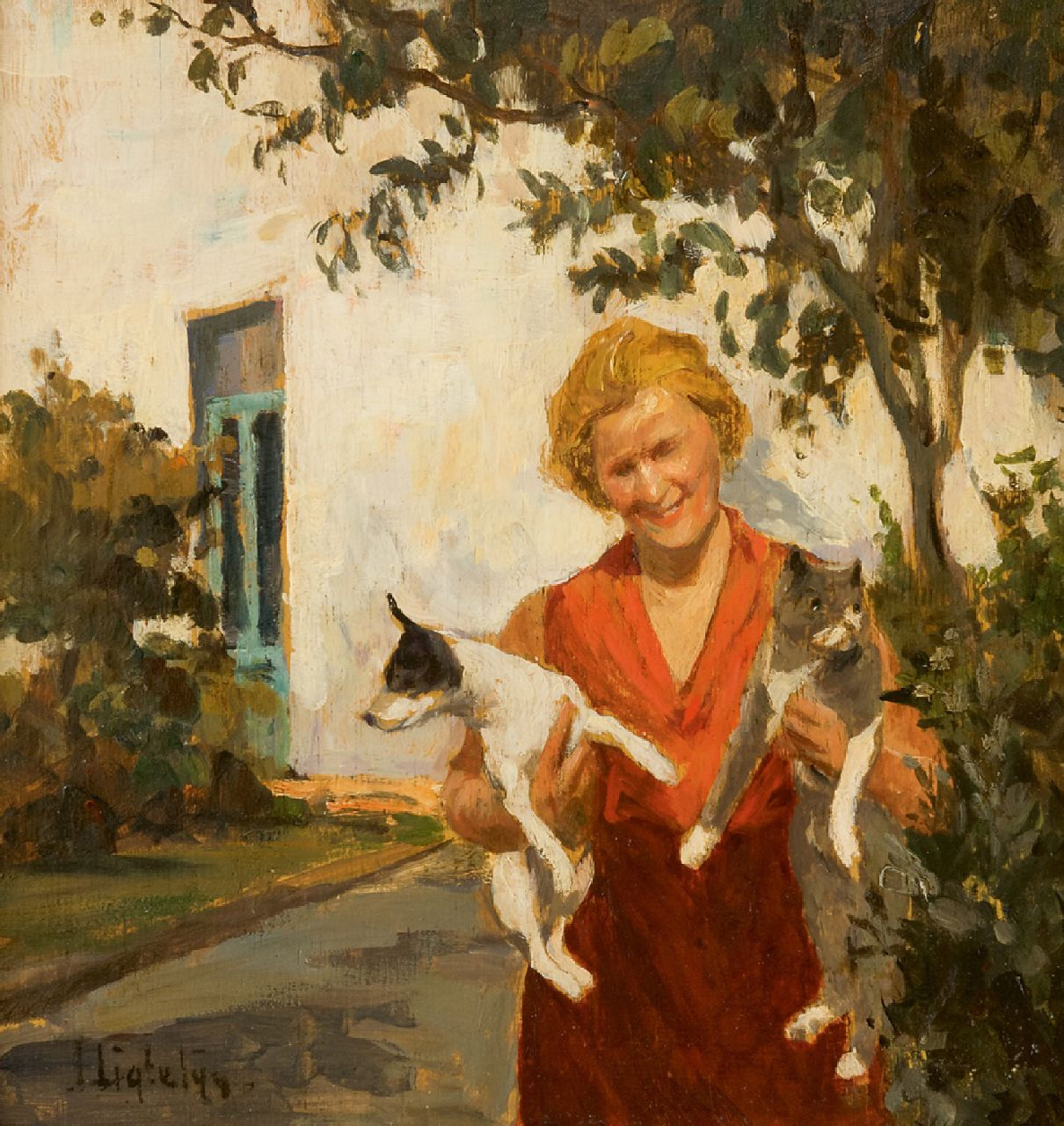 Ligtelijn E.J.  | Evert Jan Ligtelijn | Paintings offered for sale | A lady with her dog and cat in the garden, oil on panel 24.0 x 22.7 cm, signed l.l.