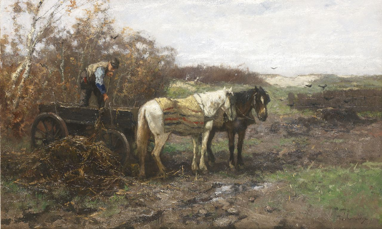 Scherrewitz J.F.C.  | Johan Frederik Cornelis Scherrewitz | Paintings offered for sale | Unloading the cart in the dunes, oil on canvas 52.2 x 85.5 cm, signed l.r.