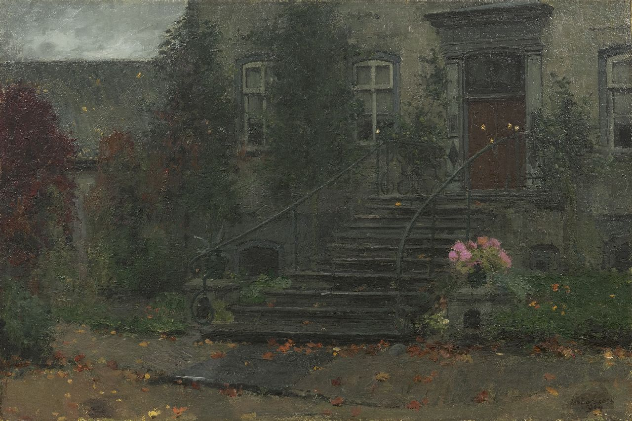 Bogaerts J.J.M.  | Johannes Jacobus Maria 'Jan' Bogaerts | Paintings offered for sale | A view of the entry of a country house, oil on canvas 40.4 x 60.7 cm, signed l.r. and dated 1904