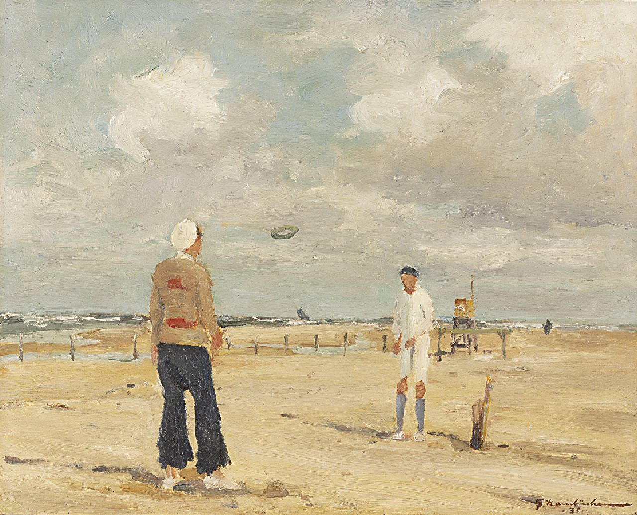 Hambüchen G.  | Georg Hambüchen | Paintings offered for sale | Ring throw on the beach, oil on board 37.7 x 46.3 cm, signed l.r. and dated '35