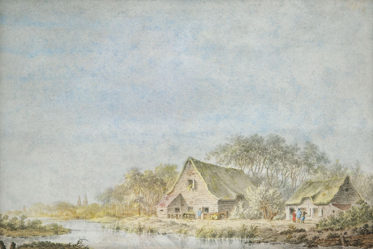 Koekkoek B.C.  | Barend Cornelis Koekkoek | Watercolours and drawings offered for sale | A river landscape, ink and watercolour on paper 18.6 x 27.7 cm, signed l.r.