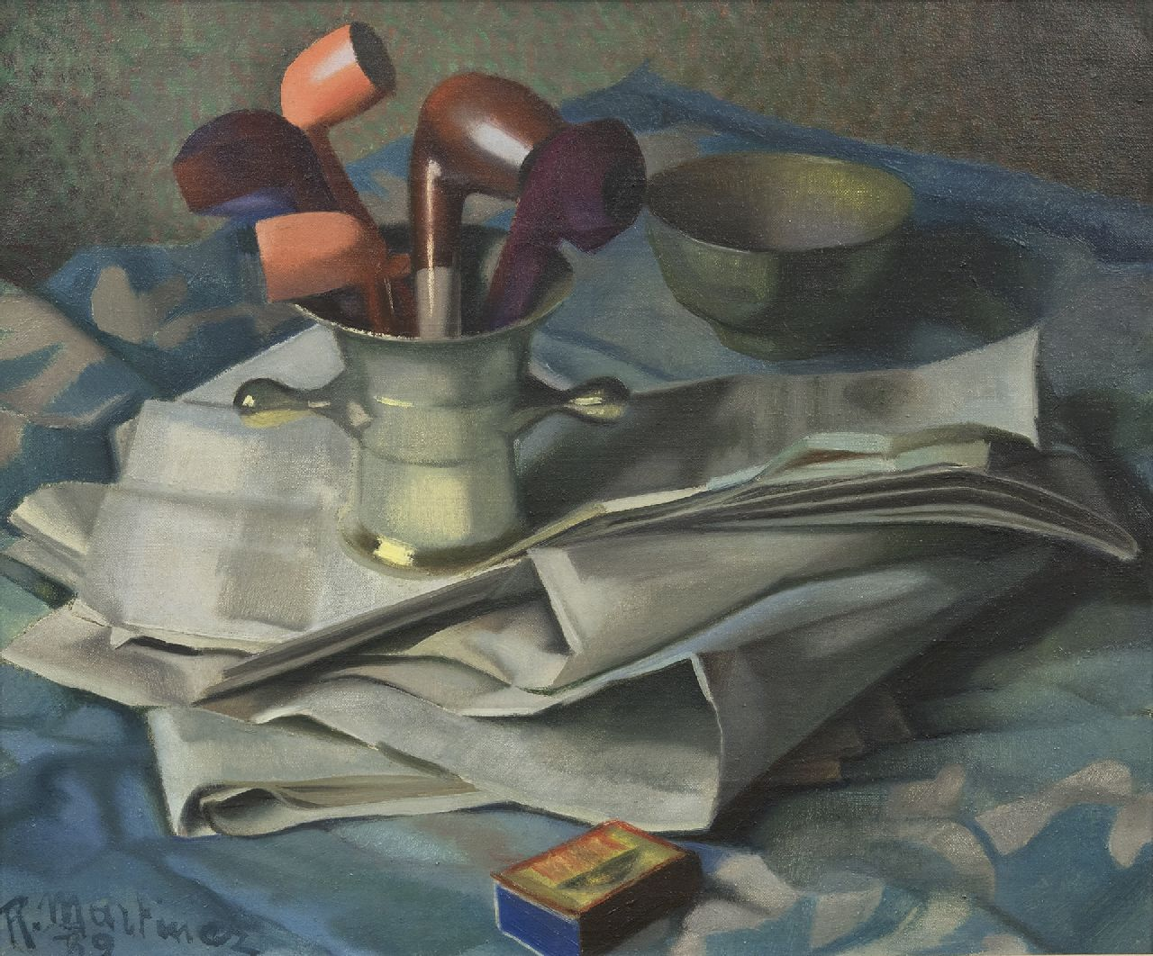 Raoul Martinez | Still life with mortar, pipes and a newspaper, oil on canvas, 46.2 x 55.3 cm, signed l.l. and dated '39