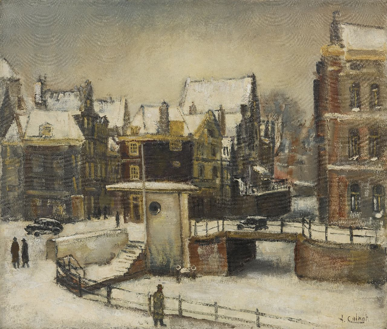Colnot A.J.G.  | 'Arnout' Jacobus Gustaaf Colnot | Paintings offered for sale | The Rokin in Amsterdam seen from Arti, winter 1940-1941, oil on canvas 55.4 x 65.3 cm, signed l.r.