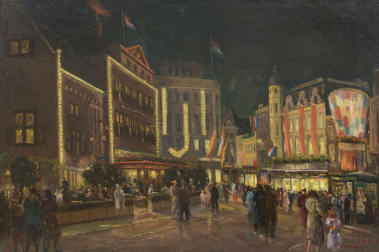 Zuiderwijk A.  | Adrianus Zuiderwijk | Paintings offered for sale | The Groenmarkt in The Hague by night, oil on canvas 60.6 x 90.4 cm, signed l.r. and dated 21 sept '48
