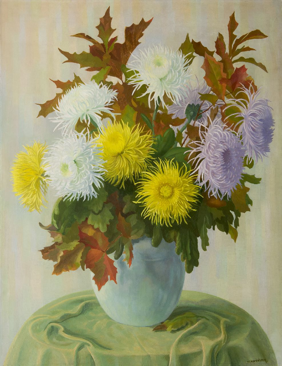Smorenberg D.  | Dirk Smorenberg | Paintings offered for sale | Spider mums, oil on canvas 116.2 x 90.0 cm, signed l.r.