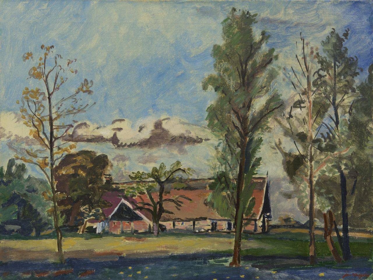 Wiegers J.  | Jan Wiegers | Paintings offered for sale | A farm in Saasveld, Twente, oil on canvas 46.6 x 61.2 cm, signed l.r. and dated '40