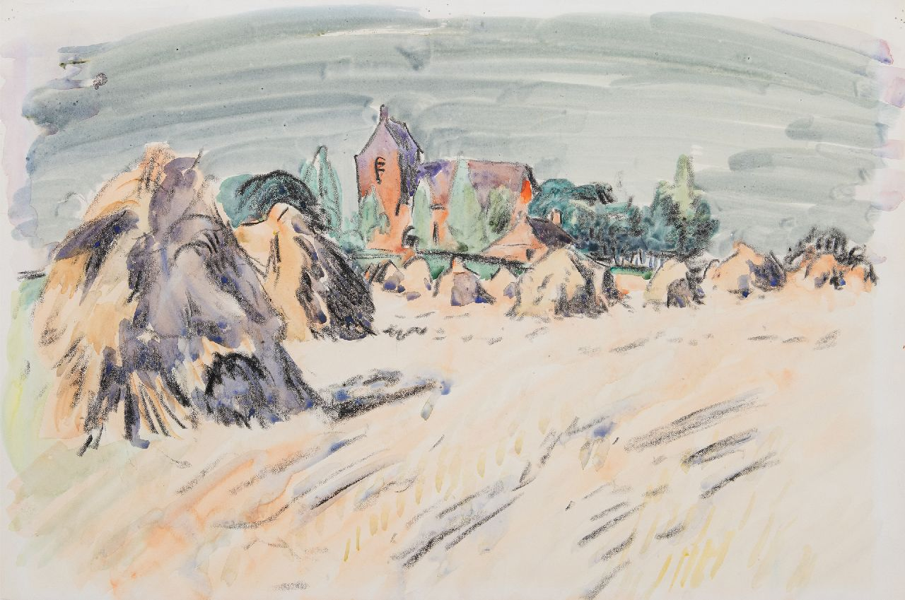 Altink J.  | Jan Altink | Watercolours and drawings offered for sale | A summer landscape with the church of Oostum, chalk and watercolour on paper 41.2 x 59.7 cm