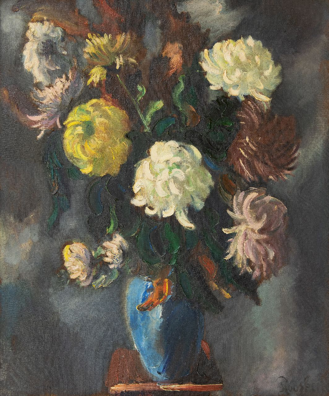 Rooskens J.A.  | Joseph Antoon 'Anton' Rooskens | Paintings offered for sale | Chrysanthemums, oil on canvas 90.0 x 75.4 cm, signed l.r. and painted ca. 1938-1941