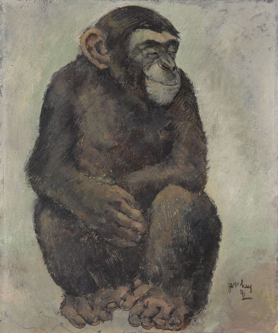 Jan van Heel | Sitting ape, oil on board, 60.0 x 50.0 cm, signed l.r. and dated '41