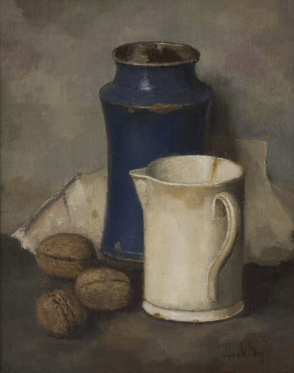Bos H.  | Hendrik 'Henk' Bos | Paintings offered for sale | A still life with pottery and walnuts, oil on canvas 30.3 x 24.5 cm, signed l.r.