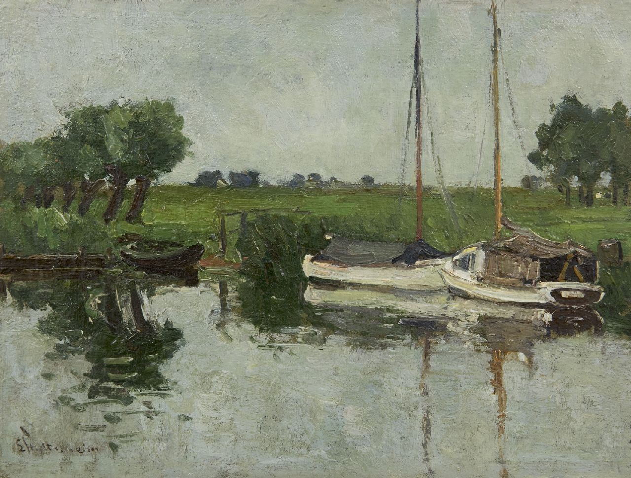 Stutterheim L.P.  | Lodewijk Philippus 'Louis' Stutterheim | Paintings offered for sale | Sailing ships in the river Eem near Soest, oil on panel 25.1 x 33.1 cm, signed l.l.