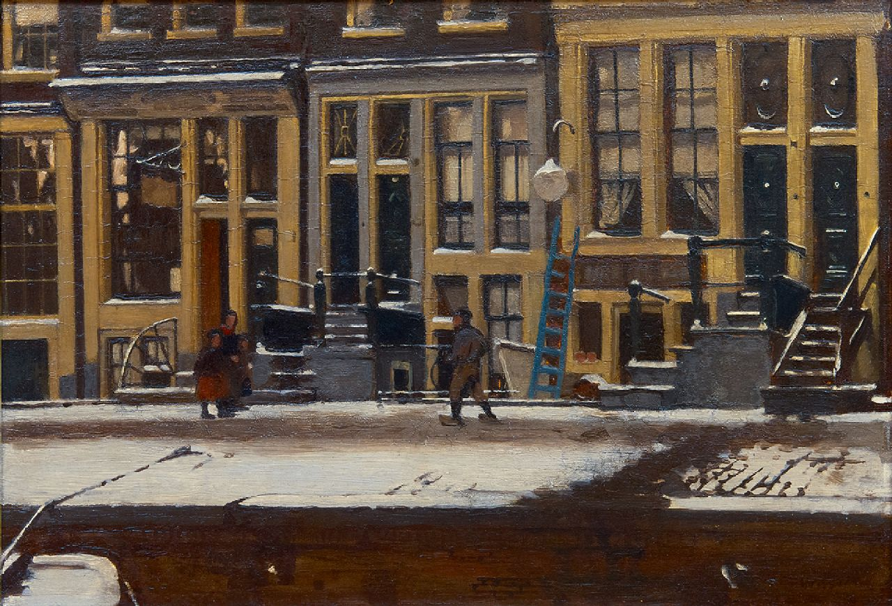 Witsen W.A.  | 'Willem' Arnold Witsen | Paintings offered for sale | The Oude Waal in winter, Amsterdam, oil on panel 30.3 x 44.3 cm, signed l.r. and painted ca. 1912